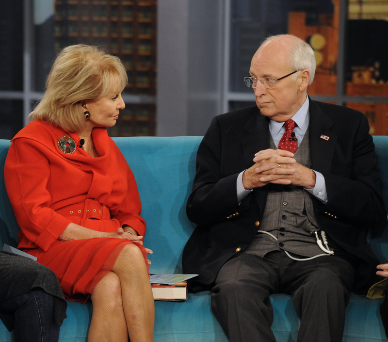 "Former Vice President Dick Cheney talks with Barbara Walters on the talk show ""The View"" Tuesday in New York. Cheney appeared to promote his book, ""In My Time."""