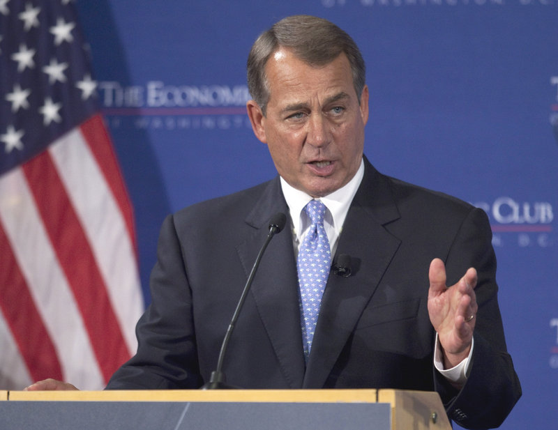 House Speaker John Boehner addresses the Economic Club of Washington on Thursday. Boehner said the committee charged with recommending deficit cuts should lay the groundwork for tax changes to enhance economic growth.