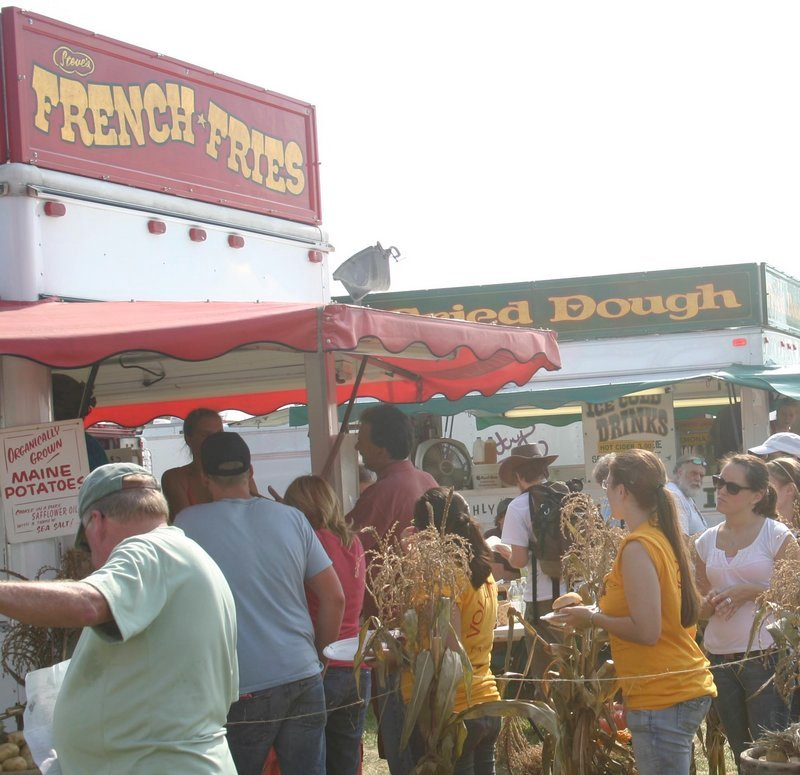 Traditional staples such as french fries and fried dough are served, the difference being that both are made with organic, Maine-grown ingredients when served at the fair in Unity.