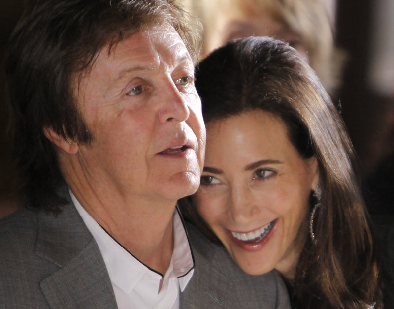 Paul McCartney, 69, is seen with his fiancee, Nancy Shevell, 51. The two filed papers to get married at London's Marylebone Town Hall.