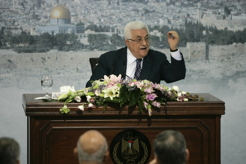 Palestinian President Mahmoud Abbas speaks Friday in Ramallah, urging Palestinians to refrain from violence.