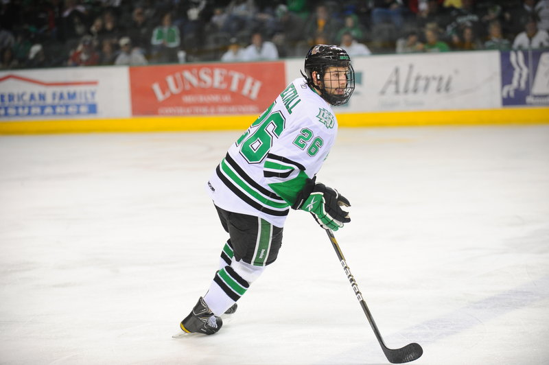 Brett Hextall plans on playing his tough, aggressive style as he did at the University of North Dakota.