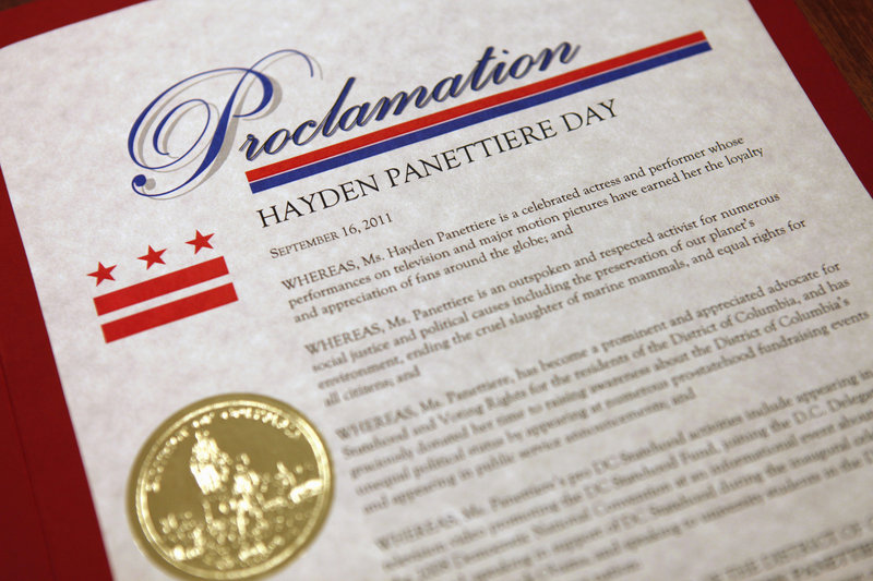 """A proclamation names Sept. 16 as """"Hayden Panettiere Day"""" after the actress was honored Friday by the District of Columbia for her advocacy of Washington, D.C., statehood."""