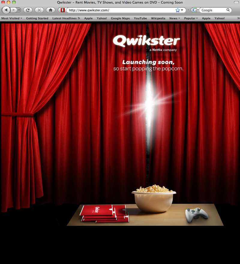 This computer screen shot shows Qwikster.com, the new DVD-by-mail website service coming soon from Netflix Inc.