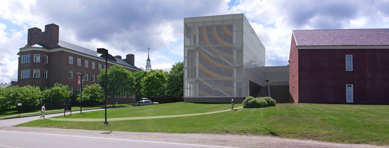 An architect's rendering depicts how the campus will look when the addition to the Colby College Museum of Art is completed.