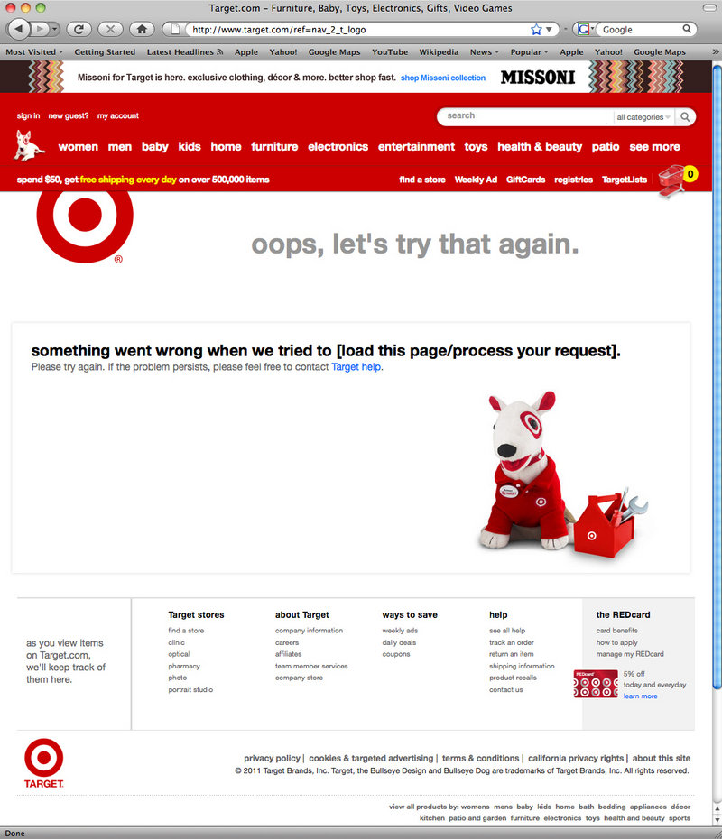 This screen shot shows the crashed Missoni page of the Target.com website.