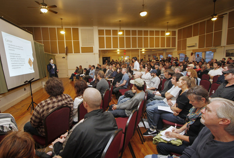 Dr. Dustin Sulak told a large crowd Thursday evening at the Woodfords Club that he most often treats chronic pain, saying patients seem to respond better to medicinal marijuana than to addictive opiates such as oxycodone.