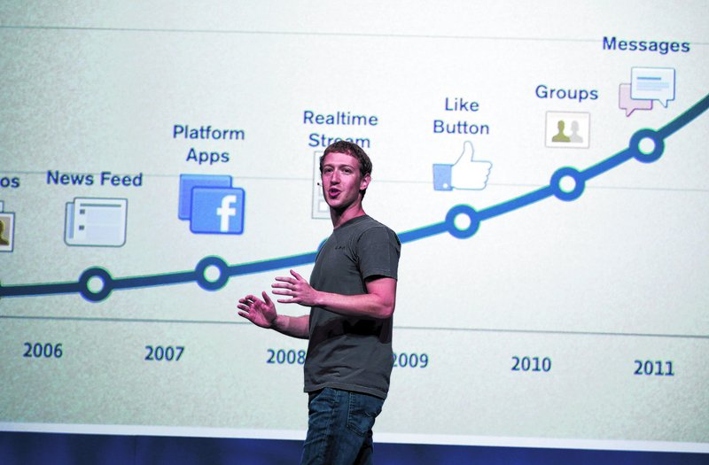 """Facebook CEO Mark Zuckerberg talks about the history of the company during the f/8 conference in San Francisco on Thursday. """"If you look at Facebook's history, obviously they are not afraid of making change,"""" said analyst Sean Corcoran."""