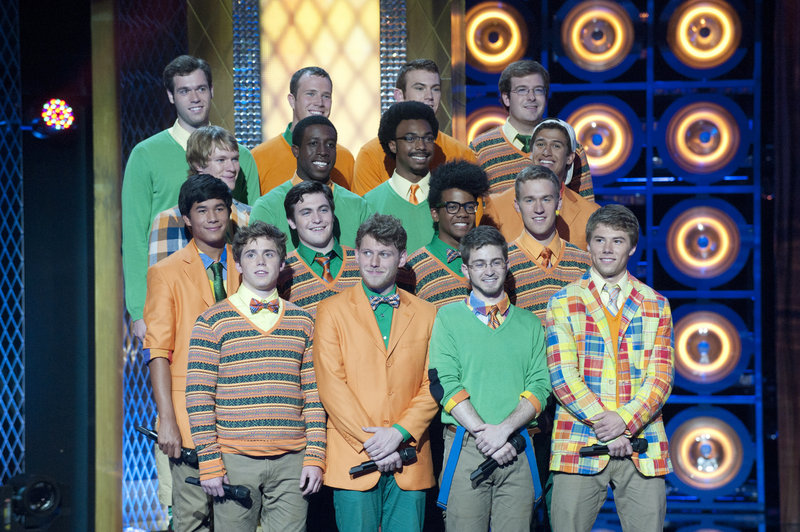 "Michael Odokara-Okigbo of Portland, third row from front, second from left, sings with the Dartmouth Aires, a group that will make its first appearance on ""The Sing-Off"" today."