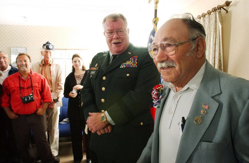 "Rocco Gedaro, right, was formally promoted to sergeant in 2002, more than half a century after his infantry service in Europe during World War II. ""It truly meant everything to him."" his daughter said."