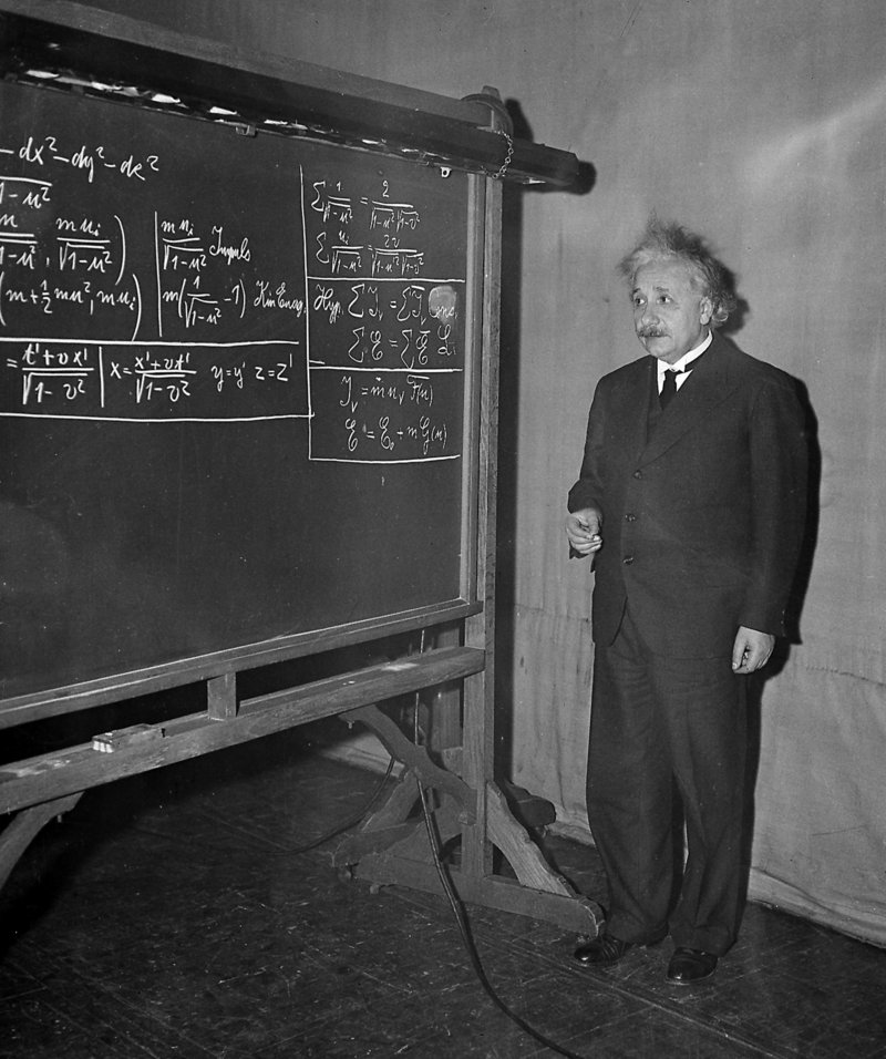 Albert Einstein delivers a lecture in Pittsburgh on Dec. 28, 1934. Scientists say they have clocked subatomic particles traveling faster than light, which would violate the idea that nothing is supposed to move faster than light, according to Einstein's special theory of relativity.