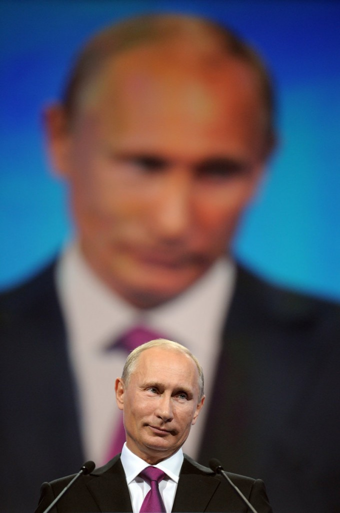 Russian Prime Minister Vladimir Putin speaks at a United Russia party congress in Moscow on Saturday, when he was nominated for president. The nomination almost ensures his return to the office he previously held.