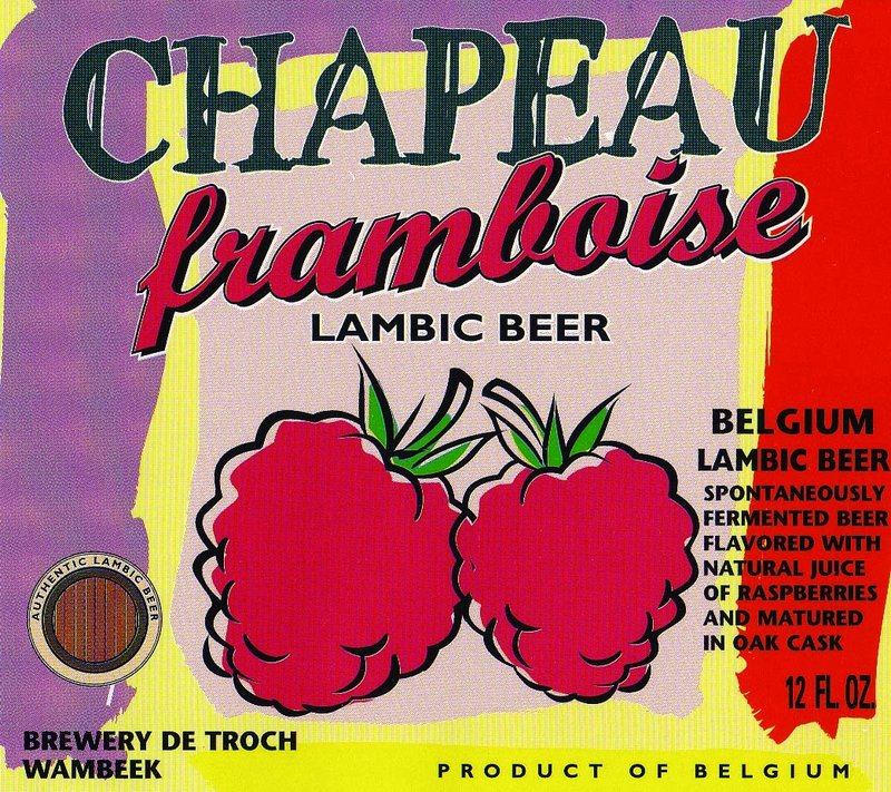 The Chapeau Lambic bottle has both a regular cap and a cork. Beer flavors include raspberries, above, apricot, banana and peach.