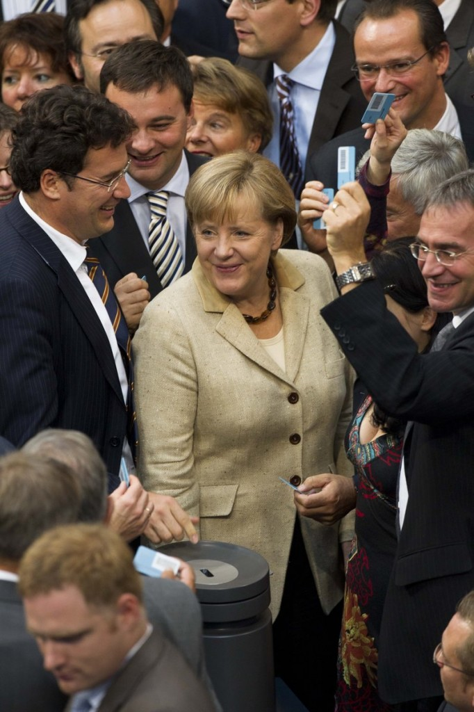 German Chancellor Angela Merkel is shown after casting her vote about the eurozone bailout fund at the German parliament Bundestag in Berlin on Thursday.