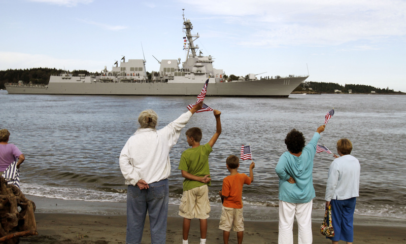 The $1 billion Navy destroyer USS Spruance passes Popham Beach in Phippsburg Thursday. The Spruance is on its way from Bath Iron Works, where it was built, to its commissioning in Key West, Fla., on Oct. 1. Its home port will be San Diego, Calif.