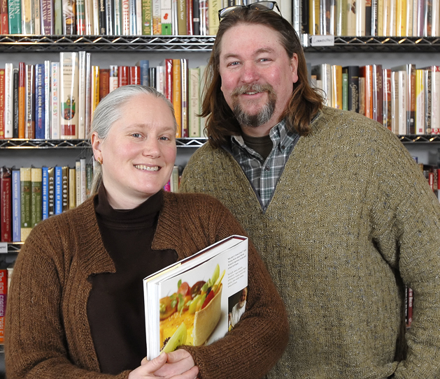 Samantha Hoyt Lindgren and Don Lindgren in a 2008 photo at their bookstore on Middle Street.