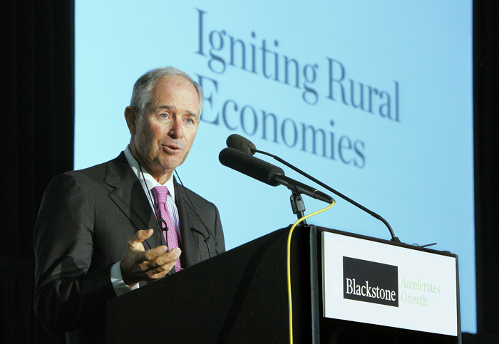 Stephen Schwarzman, Chairman, CEO and co-founder of Blackstone, a private equity firm, speaks at an event in Brunswick today where he announced the launch of a program that will coordinate entrepreneurship programs in Maine.