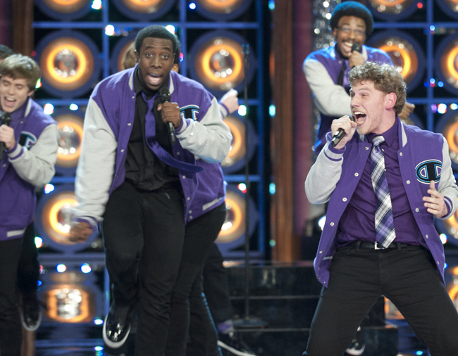 "The Dartmouth Aires, featuring Michael Odokara-Okigbo, left, of Portland, perform on Monday's episode of NBC's ""The Sing-Off."" The winning group will be announced Nov. 28."