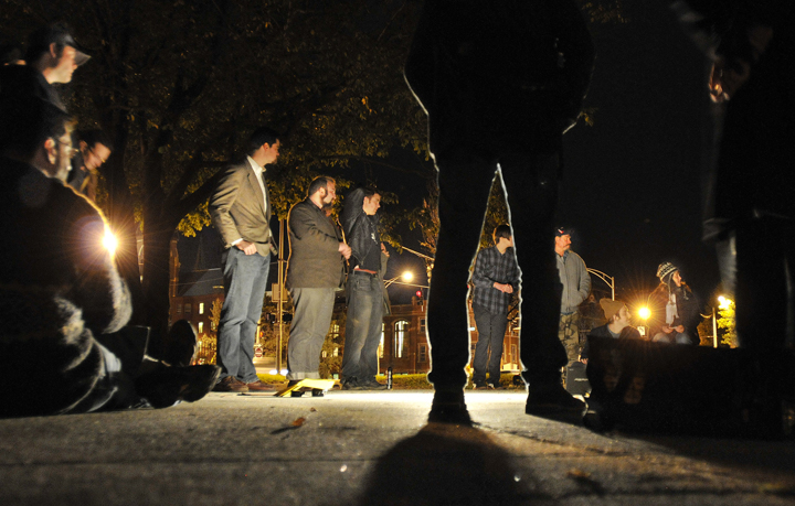 For the first time in its existence, Occupy Maine held its nightly 6 p.m. general assembly meeting at the fountain in Lincoln Park,