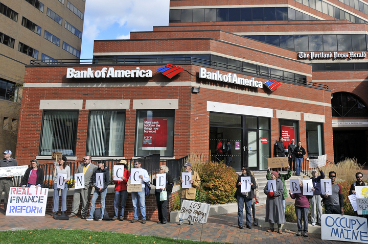 Occupy Maine organized a protest directed against Bank of America at One City Center today.