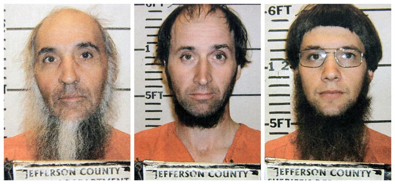 Jefferson County Sheriff's Department photos of Levi Miller, left, Johnny Mullet, and Lester Mullet, of Bergholz, Ohio. The three men believed to be members of a breakaway Amish group were arrested Saturday for allegedly going into the home of other Amish and cutting their hair and beards.