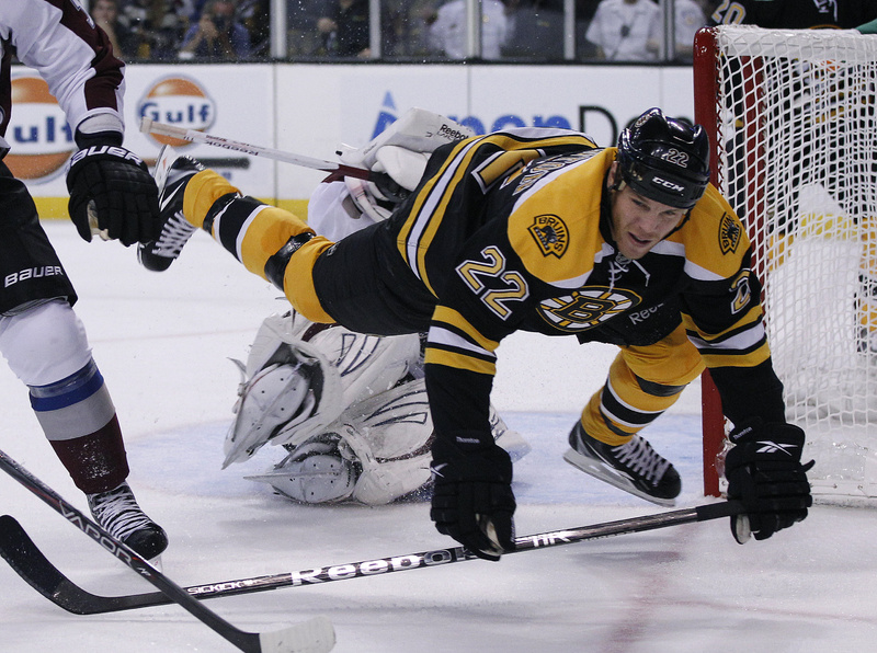 Shawn Thornton of the Bruins gets tripped up by Colorado goalie Semyon Varlamov in today's game at Boston. The Avalanche won, 1-0.