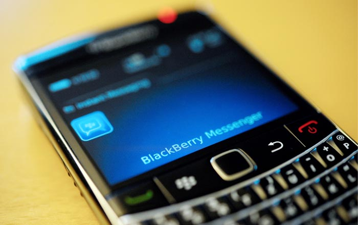 A BlackBerry smartphone using the