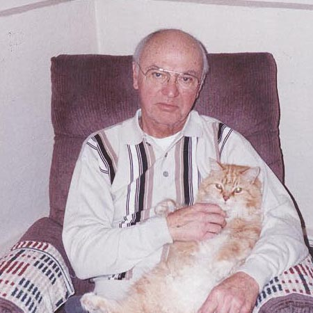 Hilton Libby is shown with his cat, Bambi. Mr. Libby, a longtime salesman for American Steel and Aluminum Corp., died early Thursday at age 84.