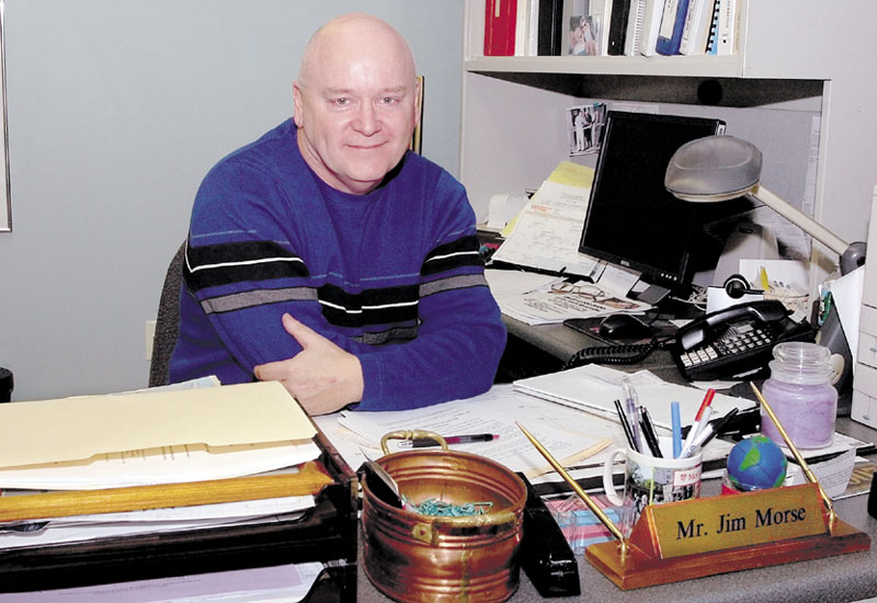 Former RSU 18 Superintendent Jim Morse sits at his office in Oakland in February 2009. Morse, now superintendent of the Portland school system, has announced he is retiring.