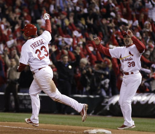 St. Louis Cardinals' David Freese (23) reacts after hitting a walk-off home run during the 11th inning of Game 6 of baseball's World Series against the Texas Rangers on Thursday in St. Louis. The Cardinals won the game 10-9 to tie the series 3-3.