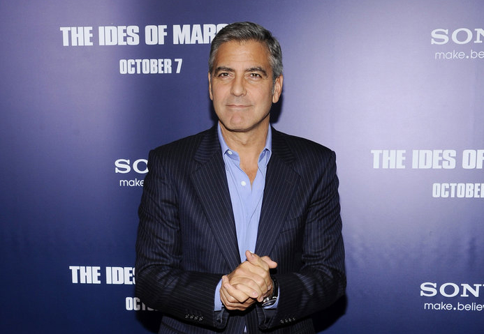 "George Clooney attends the premiere of ""Ides of March"" in New York."