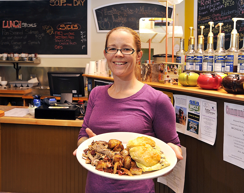 Kate Biche delivers a Goat Rock Breakfast Sandwich with a side of Braised Pork Hash. The sandwich includes egg, goat cheese, mushrooms and olives on a homemade buttermilk biscuit. The hash has braised pork, bacon, caramelized onions and fried potatoes. Below: Bennies, with a maple-cinnamon dipping sauce.