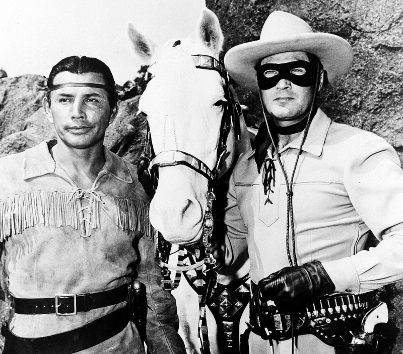 """Jay Silverheels, left, as Tonto, and Clayton Moore as """"The Lone Ranger."""""""