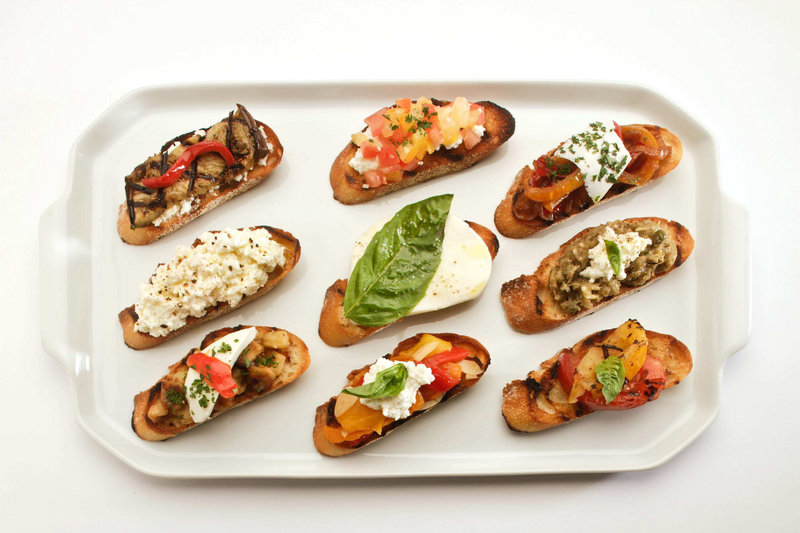 The possibilities for bruschetta toppings are almost limitless, especially at this time of year, when the markets are overflowing with the best of the fall harvest – tomatoes, eggplant, peppers.