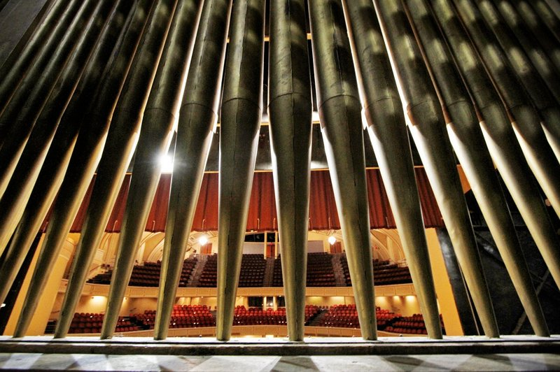The pipes of the Kotzschmar Organ in Merrill Auditorium.