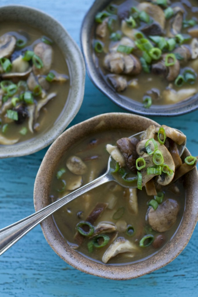 Mushroom and miso soup. Miso comes in many varieties; generally, the lighter the color, the milder the flavor.