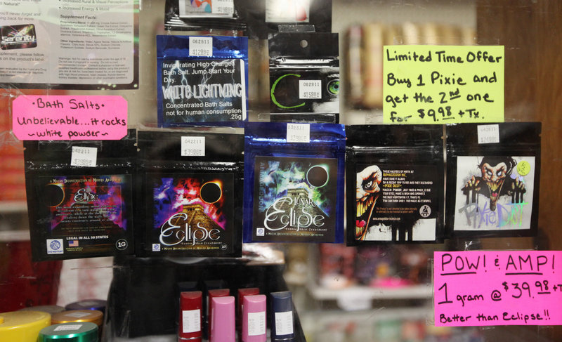 Business was brisk at The Last Place on Earth in Duluth, Minn., before a statewide ban on synthetic drugs took effect July 1. These are some of the bath salts included in the ban.