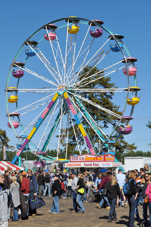 The Fryeburg Fair continues through Sunday with a wide variety of agricultural competitions, harness racing, a midway and nightly entertainment.