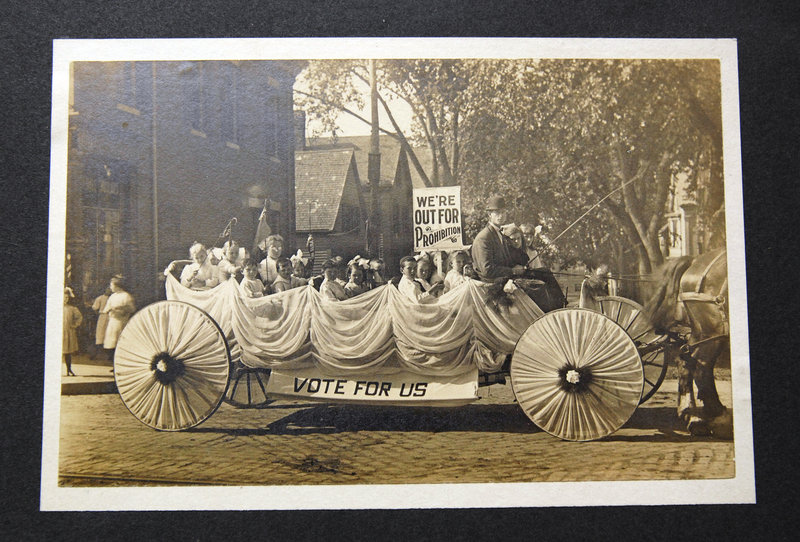This photo, dated 1911, shows a parade float supporting Prohibition in Maine, although the exact location isn't clear. The Woman's Christian Temperance Union was an instrumental part of the Prohibition movement.