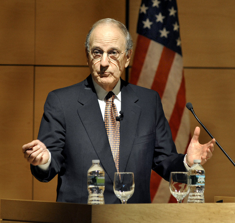 Former Sen. George Mitchell addresses a crowd Wednesday night at the University of Southern Maine. His talk, which focused on the Middle East, was his first since he stepped down as U.S. special envoy to the troubled region in May.