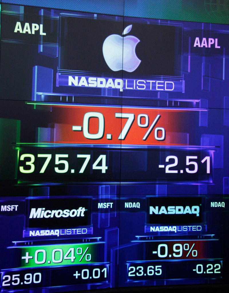Apple Inc. lost 0.2 percent to $377.37 in trading Thursday after former CEO Steve Jobs died.