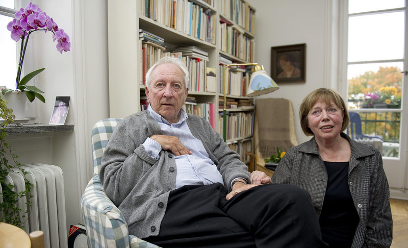 Swedish poet Tomas Transtromer and his wife, Monica, pose for a photograph at their home in Stockholm, Sweden, on Thursday after he was awarded the 2011 Nobel Prize in literature. Now 80, Transtromer has retired from writing.