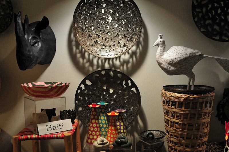 Handcrafts produced in Haiti are displayed at Aid to Artisans in West Hartford, Conn., which received a $490,000 grant from the Walmart Foundation.