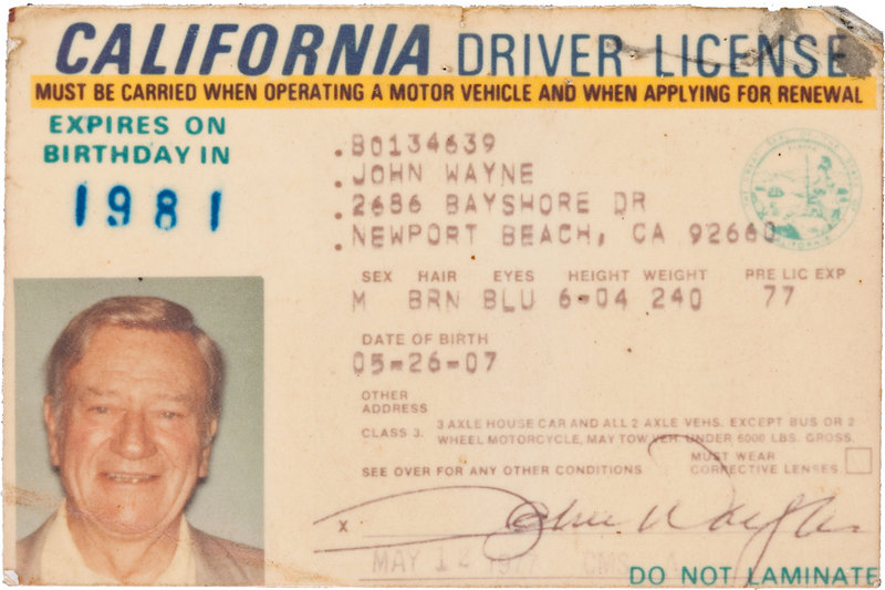 Issued in 1977, two years before he died, John Wayne's California driver's license sold for $89,625 in a public auction.