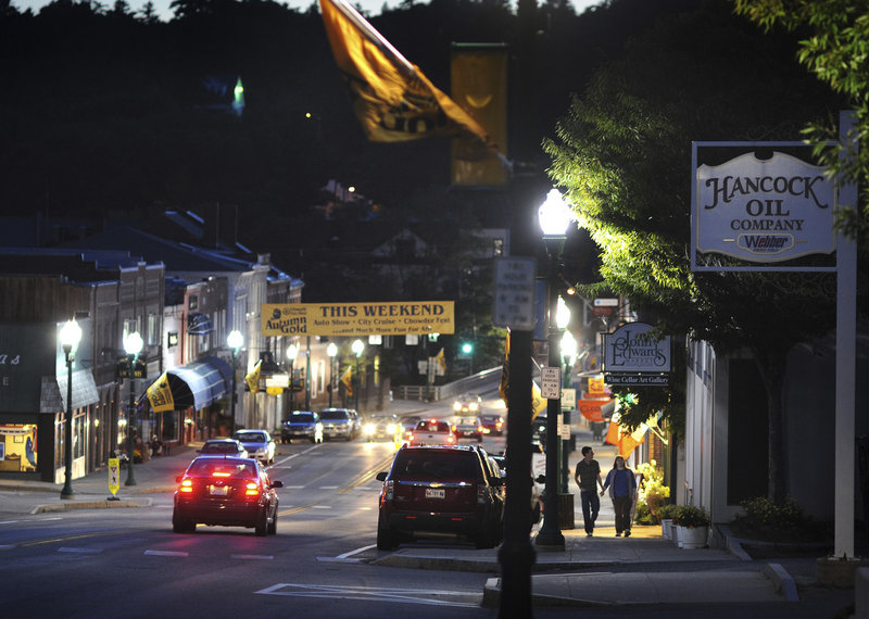 Katie Toole and Adam Cousins of Sedgwick take an evening stroll through the heart of downtown Ellsworth.