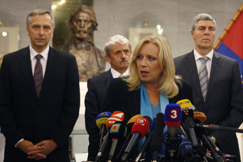 Iveta Radicova, Slovakia's Prime Minister and chairman of the Democratic and Christian Union, said her party would hold talks with the opposition to approve the euro bailout bill.