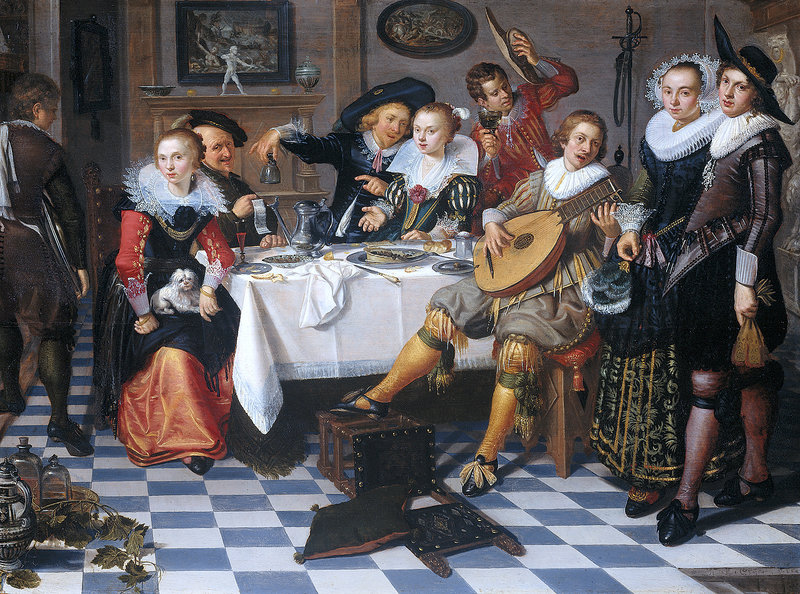 """A Party"" (1629) by the Dutch painter Isaac Elias, places a lute player at the center of attention."