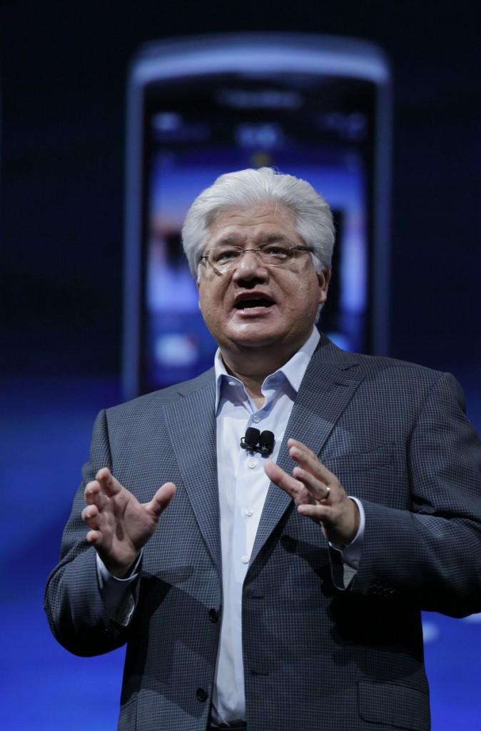 Mike Lazaridis, co-CEO of Research in Motion, introduces the new BlackBerry system Tuesday in San Francisco.