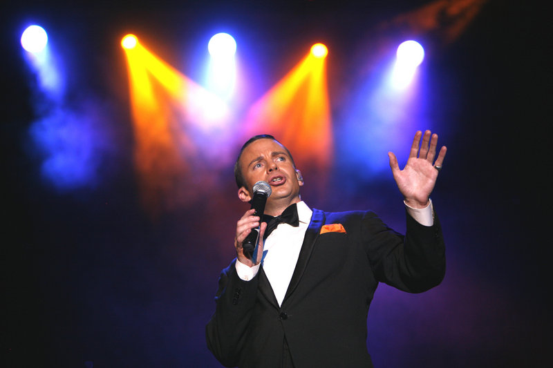 "Brian Duprey stars as Frank Sinatra in ""The Rat Pack is Back!"" The homage to the original Rat Pack of Sinatra, Davis, Bishop and Martin is at the State Theatre on Friday."