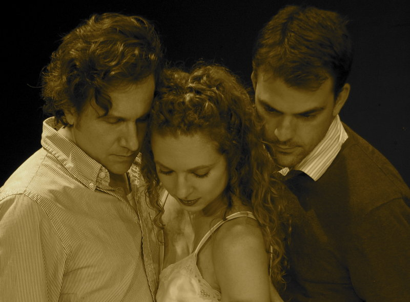 "Dana Packard, Jennifer Porter and Rob Cameron in The Originals' production of Harold Pinter's ""Betrayal."""